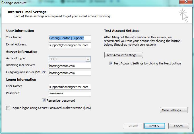 Odete na Tools -> Accounhts -> uđete u detalje e-mail računa